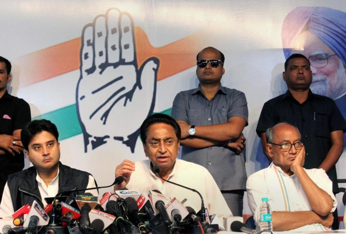 A recent cabinet meeting of the Madhya Pradesh government saw a heated exchange Chief Minister Kamal Nath and staunch supporters ofJyotiraditya Scindia. PTI file photo