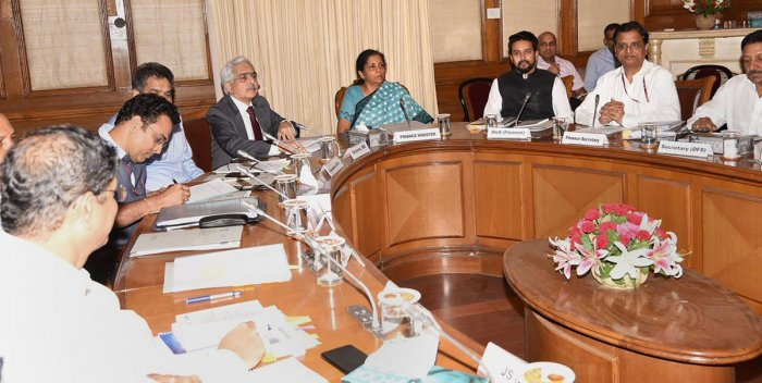 Finance Minister Nirmala Sitharaman chairs the pre-budget consultative meeting of the Financial Stability Development Council Meeting (FSDC) ahead of Budget Session, in New Delhi. (PTI Photo)