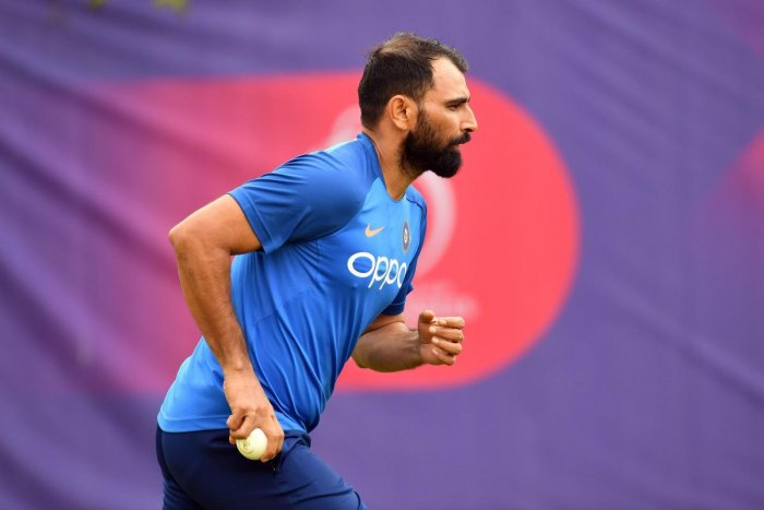 India's paceman Mohammed Shami bowls during a training session at the Hampshire Bowl in Southampton on June 20, 2019, ahead of their 2019 World Cup cricket match against Afghanistan. (AFP Photo)
