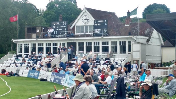 OLD WORLD CHARM: The picturesque pavilion of the Nevill Ground at Tunbridge Wells Cricket Club where Kapil Dev scored the sensational 175 not out against Zimbabwe in a 1983 World Cup match. DH PHOTO/MADHU JAWALI