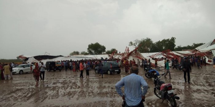 As many as 15 persons were killed and 50 got injured after a tent collapsed in Jasol village in Barmer district of Rajasthan due to heavy rain and dust storm on Sunday afternoon. DH photo by Tabeenah Anjum