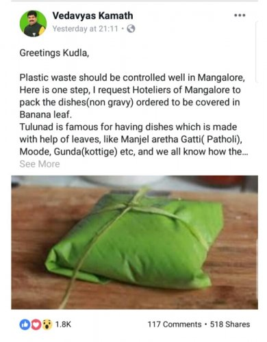 MLA D Vedavyas Kamath's post on Facebook appealing to use banana leaf for packing food.