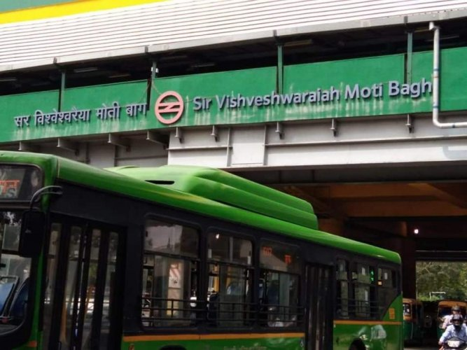 Moti Bagh metro station in New Delhi.