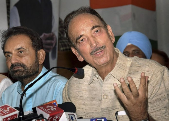Senior Congress leader Ghulam Nabi Azad addresses a press conference at Sadaqat Ashram, in Patna. (PTI Photo)