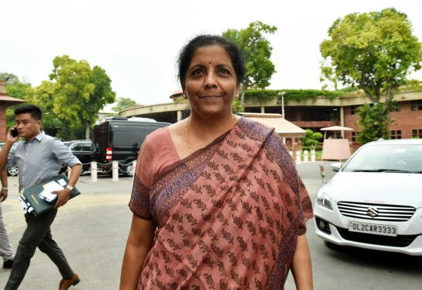 Finance Minister Nirmala Sitaraman will deliver her first Budget on July 5. Here she is seen outside Parliament House during the ongoing Budget Session. Photo credit:  Arun Sharma/ PTI photo