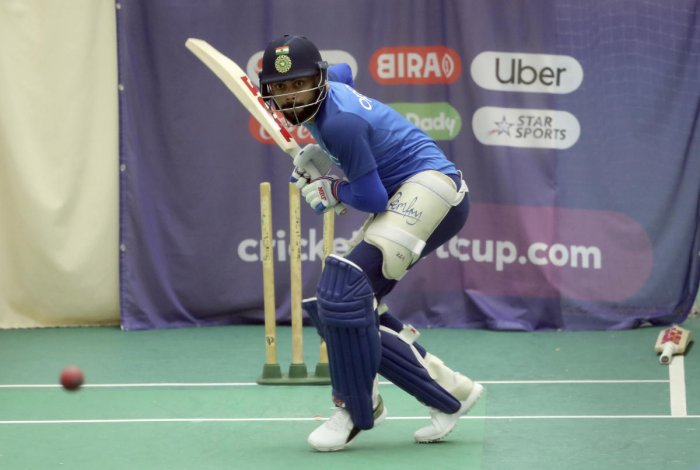 Indian skipper Virat Kohli is concentration personified as he bats during Tuesday's optional practice session in Manchester. AP/PTI