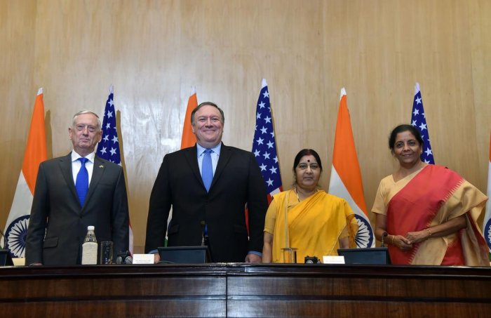 This handout photo from India's Ministry of External Affairs taken on September 6, 2018 shows US Secretary of Defense Jim Mattis (L), US Secretary of State Mike Pompeo (2L), Indian Foreign Minister Sushma Swaraj (2R) and Indian Defense Minister Nirmala Si