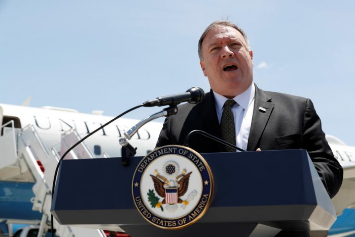 U.S. Secretary of State Mike Pompeo speaks to the media at Joint Base Andrews, Maryland, U.S. June 23, 2019, before boarding a plane headed to Jeddah, Saudi Arabia. Jacquelyn Martin/Pool via REUTERS