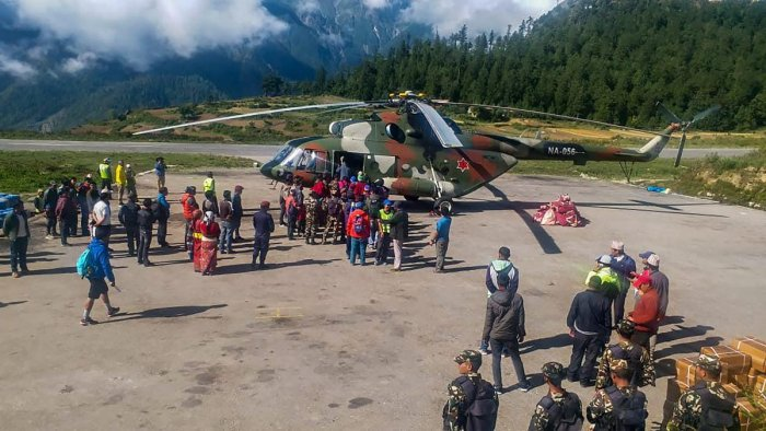 Indian pilgrims being evacuated from Simikot to Surkhet and Nepalganj, as authorities stepped up efforts to rescue those stranded there due to heavy rain while returning from the Kailash Mansarovar pilgrimage in Tibet in Simikot (PTI File Photo)