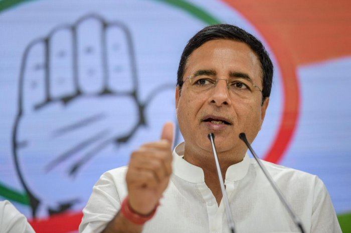 New Delhi: Congress National Spokesperson Randeep Singh Surjewala gestures as he speaks during a press conference, in New Delhi, Wednesday, April 03, 2019. (PTI Photo)