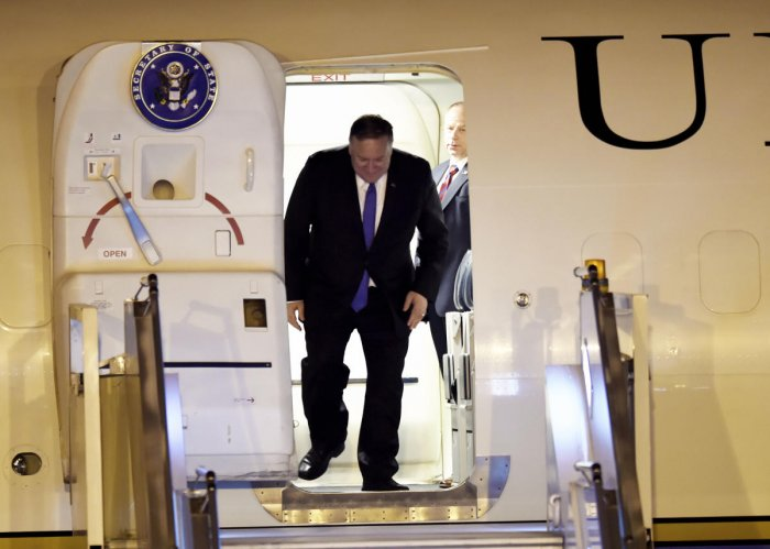 New Delhi: US Secretary of State Mike Pompeo arrives at AFS Palam, in New Delhi, Tuesday, June 25, 2019. (PTI Photo/Kamal Singh) (PTI6_25_2019_000209B)