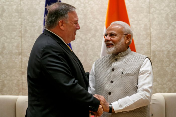 U.S. Secretary of State Mike Pompeo, left, shakes hands with Indian Prime Minister Narendra Modi, during their meeting at the Prime Minister's Residence, Wednesday, June 26, 2019, in New Delhi, India. Jacquelyn Martin/Pool via REUTERS