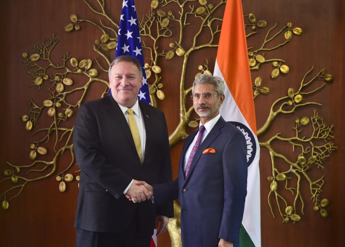 External Affairs Minister S Jaishankar shakes hands with US Secretary of State Mike Pompeo during a meeting, in New Delhi on Wednesday. PTI photo