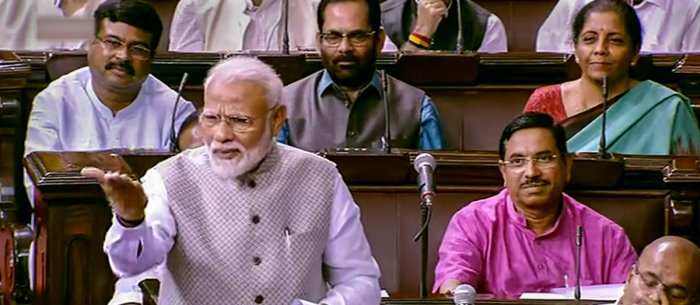 Prime Minister Narendra Modi speaks in the Rajya Sabha during the 'Motion of Thanks on President's Address', at Parliament in New Delhi on Wednesday. PTI photo