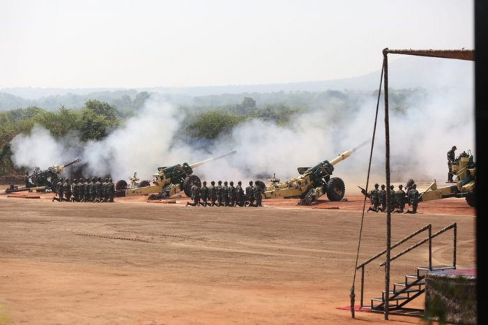 The 155mm, 39 Calibre Ultra light Howitzers have been procured from the USA under Government to Government Foreign Military Sales and will be assembled in India by BAE Systems in partnership with Mahindra Defence. (DH Photo)