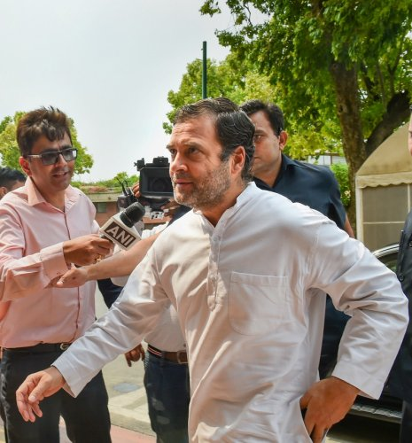Sulking Congress president Rahul Gandhi on Wednesday told Lok Sabha members of the party that he was firm on quitting the top post and that the organisation has to look for an alternative soon. (PTI Photo)