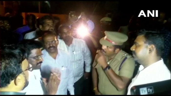 Income Tax officials' raid at the residence of Durai Murugan. ANI/Twitter photo