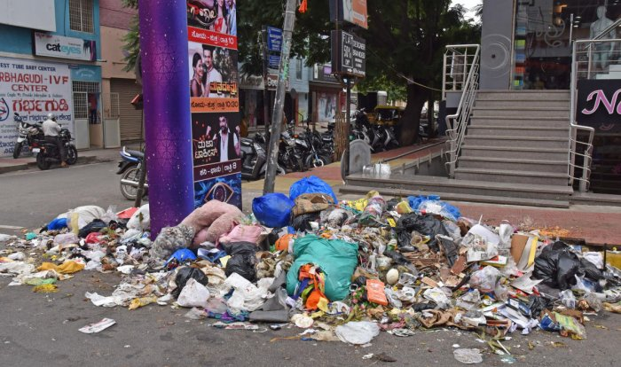 Trash lies uncollected at Basavanagudi during an earlier strike by the contractors. DH file photo/S K Dinesh