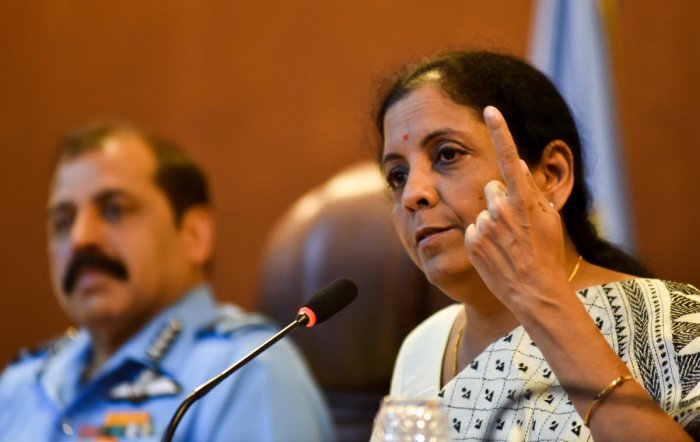 Defence Minister Nirmala Sitharaman addressing a press conference at Yelahanka Air Force Station in the city on Sunday. (DH Photo/B H Shivakumar)