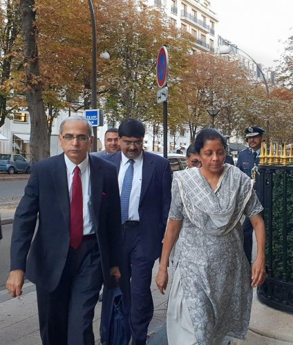 Defence Minister Nirmala Sitharaman arrives for the first India-France Ministerial level annual Defence Dialogue in Paris on Thursday. (PTI photo)