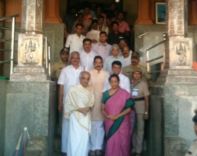 Defence Minister Nirmala Seetharaman at Dharmasthala. DH photo.