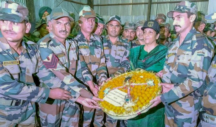 efence Minister Nirmala Sitharaman celebrating Diwali with the Indian troops deployed in the forward posts of Upper Dibang in Arunachal Pradesh on Wednesday. PTI Photo