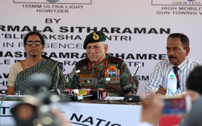 Defence Minister Nirmala Sitharaman and Chief of Army Staff, General Bipin Rawat addressing the press.