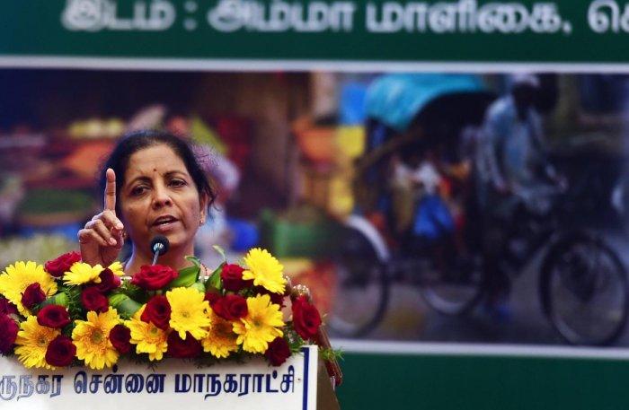 Chennai: Defence Minister Nirmala Sitharaman addresses after unveiling the 'Pradhan Mantri Shram Yogi Pension Yojana' at a function, in Chennai on Tuesday. (PTI Photo)