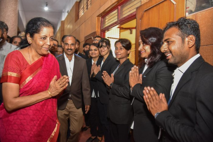Defence Minister Nirmala Sitharaman arrives for a public interaction in Bengaluru on Sunday. DH Photo/S K Dinesh