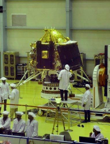 ISRO personnel work on the orbiter vehicle of Chandrayaan-2 (PTI File Photo)