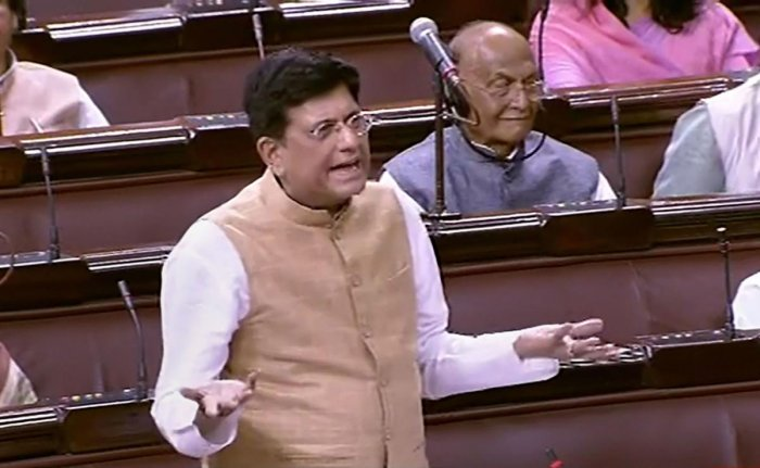 Union Railway Minister Piyush Goyal speaks in the Rajya Sabha during the Budget Session of Parliament, in New Delhi. (PTI Photo)