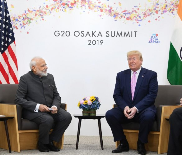 Prime Minister Narendra Modi meets President of United States of America (USA) Donald Trump, on the sidelines of the G-20 Summit, in Osaka. (PTI Photo)