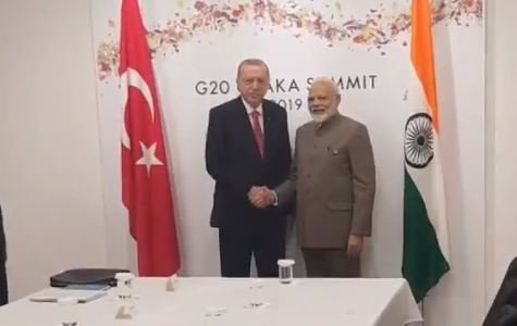 Modi meet Erdogan on the sidelines of the G-20 Summit at Osaka in Japan. (Video grab)