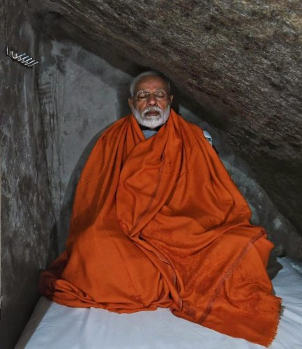 Prime Minister Narendra Modi meditating in a holy cave near Kedarnath Temple, during his two-day pilgrimage to Himalayan shrines, in Rudraprayag district (PTI File Photo)