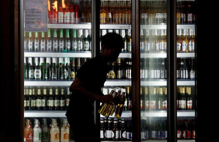 Bottles of beer, wine and spirits contain potentially harmful levels of toxic elements, such as lead and cadmium, in their enamelled decorations, a study has found. (Reuters File Photo)