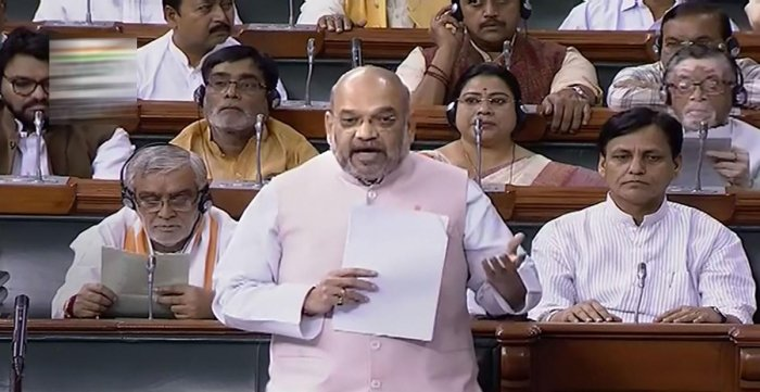 """Shah had said on Friday that Article 370 of the Constitution, which provides for special status to the state, was """"temporary in nature"""" and """"not permanent"""". (PTI Photo)"""