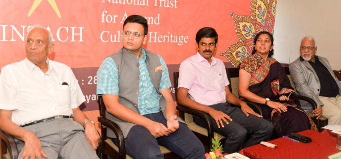 Indian National Trust for Art and Cultural Heritage (INTACH) chairman Major General (Retd) L K Gupta, Yaduveer Krishnadatta Chamaraja Wadiyar, Deputy Commissioner Abhiram G Sankar, Mysuru City Corporation Commissioner C T Shilpa Nag and convenor of INTACH