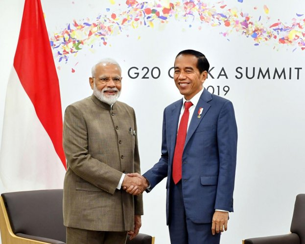 Prime Minister Narendra Modi meets the President of Indonesia Joko Widodo, on the sidelines of the G-20 Summit, in Osaka, Japan. (PTI Photo)
