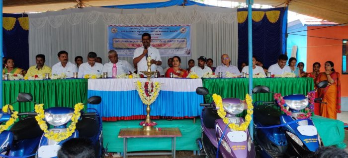 MLA Kumaraswamy speaks during the inauguration of the new building of Idakini Gram Panchayat in Kalasa recently.