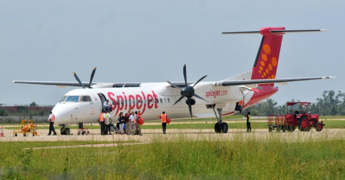 A SpiceJet plane on Sunday overshot the runway while landing at the Surat Airport, although none of the passengers and crew members on board were hurt in the incident. (DH Photo)