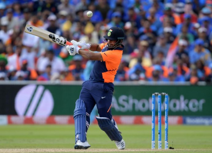 Rishabh Pant plays a shot during the match between England and India at Edgbaston. Credit: Dibyangshu Sarkar/AFP