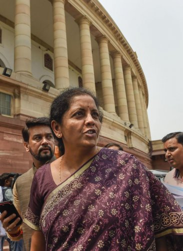 Union Minister for Finance and Corporate Affairs Nirmala Sitharaman, Minister of State for Finance and Corporate Affairs Anurag Singh Thakur and others leave after the BJP parliamentary party meeting, in New Delhi, Tuesday, July 02, 2019. (PTI Photo)