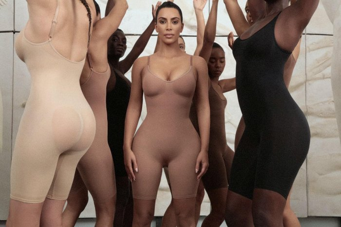 Kim Kardashian dressed in bodysuits from her new clothing line called Kimono in an undisclosed location. (Reuters File Photo)