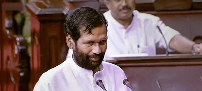 Union Minister and Lok Janshakti Party (LJP) Chief Ram Vilas Paswan takes oath as a member of the Rajya Sabha during the Budget Session of Parliament, in New Delhi. PTI photo