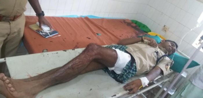 RFO Raghavendra being treated at the Government Hospital in Gundlupet.