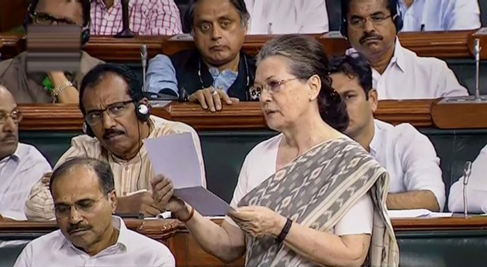 Congress Parliamentary Party Chairperson Sonia Gandhi speaks in the Lok Sabha during the Budget Session of Parliament in New Delhi. PTI photo