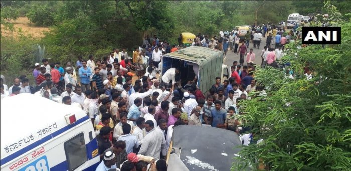 The accident took place at Murugamalla near Chintamani town under the Kencharlahalli Police Station. (ANI/Twitter)