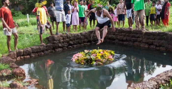 "As they jump into the wells, the revellers shout cries of ""Viva Sao Joao"". Traditional celebrations aren't complete without feni, other liquors, fresh fruit and savouries."