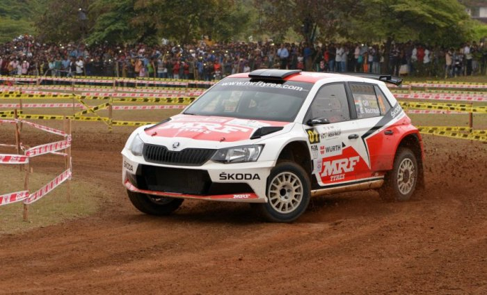 Gaurav Gill in action during the Asia-Pacific Rally Championship in Chikkamagaluru. Picture credit: Vivek Phadnis/ DH Photo