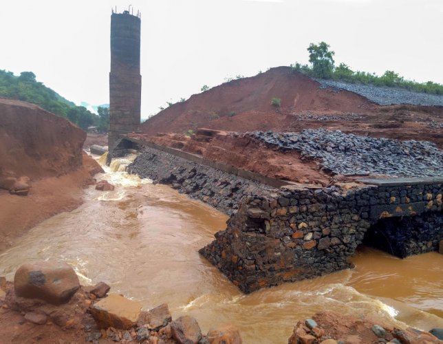 A view of the Tiware dam which breached following incessant rains, in Ratnagiri. (PTI Photo)